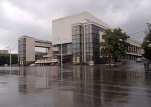 Gorky Drama Theatre in raining day